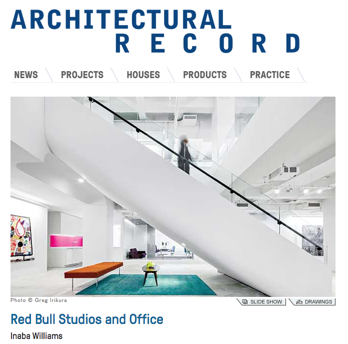 Red Bull Music Studio and Office are featured in Architectural Record